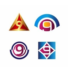 9 Number seven logo symbol icon graphic flat vector