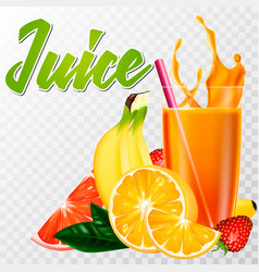 a real glass of juice with fruit and a splash vector image