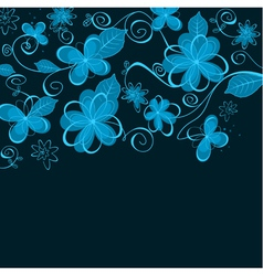Abstract blue floral design vector image