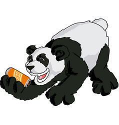 asia panda character with a can beer vector image