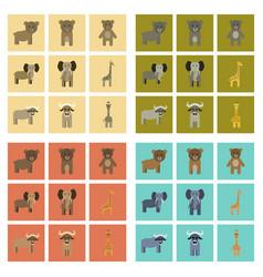 Assembly flat icons nature giraffe bull bear vector