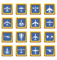 aviation icons set blue vector image