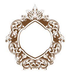 Baroque frame line art french luxury rich vector