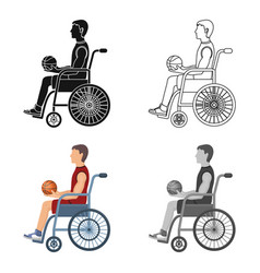 basketball player disabledbasketball single icon vector image