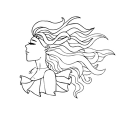 black and white portrait of a girl with long hair vector image