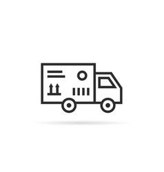 Black thin line delivery van with package box vector