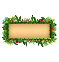 Blank sign with tropical forest background vector