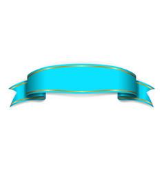 Blue satin empty ribbon blank banner design vector