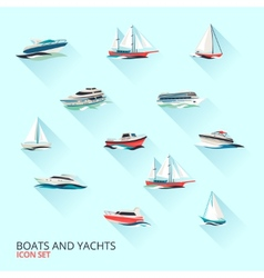 Boats icons set vector