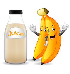 Bottle of banana juice with cute banana cartoon vector