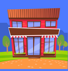 Cafe exterior in city park shop building facade vector