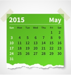 Calendar may 2015 colorful torn paper vector image