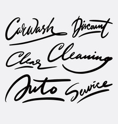 Car wash and cleaning hand written typography vector