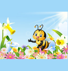 cartoon bee sitting on flower and waving hand vector image