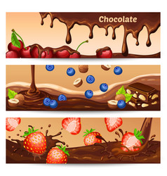 cartoon chocolate horizontal banners vector image