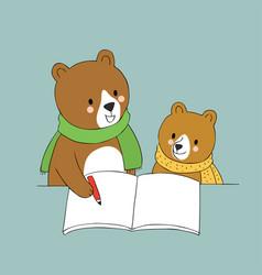 cartoon cute teacher and student bear vector image