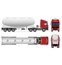 Cement bulk carrier truck mockup side front vector