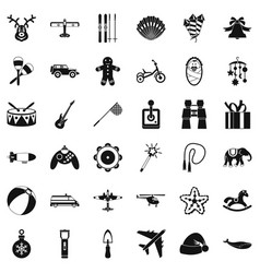 children icons set simple style vector image