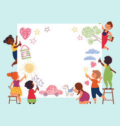 children painting banner kid hand drawing vector image