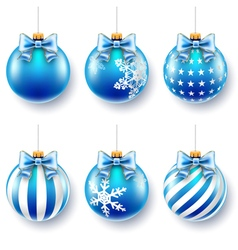christmas blue balls set vector image