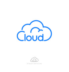 Cloud computing logo storage network icon linear vector