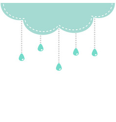 cloud with hanging shining rain drops template vector image