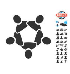 Collaboration icon with free bonus vector