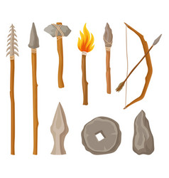 Collection of stone age symbols tools and weapon vector