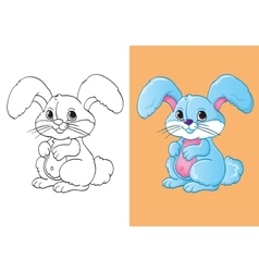 Coloring Book Of Cute Blue Little Hare vector