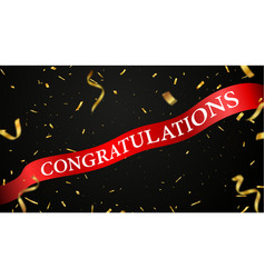 congratulations red ribbon celebration design vector image