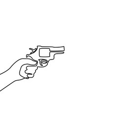 continuous one line drawn hand holds a revolver vector image