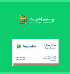 cooking pot logo design with business card vector image