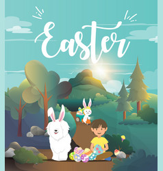 cute boy with easter bunny vector image