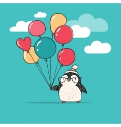 Cute penguin with balloons - Merry Christmas vector image