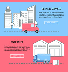 delivery and warehouse horizontal banner templates vector image