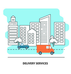Delivery services banner template in flat style vector