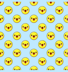 Emoji seamless pattern on a blue background vector