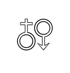 female male genger symbols hand drawn outline vector image