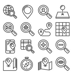 find and search related icons set on white vector image