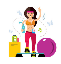 Fitness girl flat style colorful cartoon vector