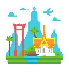 Flat design bangkok landmarks vector