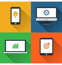 Flat design long shadow styled gadget icon set vector image