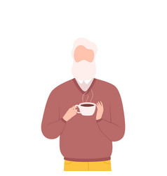 gray bearded man drinking coffee male character vector image