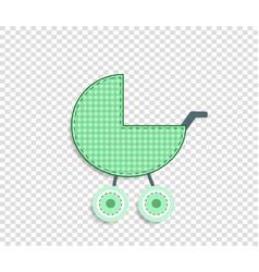 Green clip art stroller for scrapbook or baby boy vector