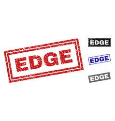 Grunge edge scratched rectangle stamps vector