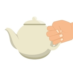 hand human with teapot vector image
