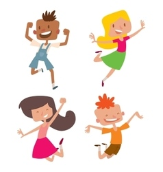 Happy children in different positions set vector