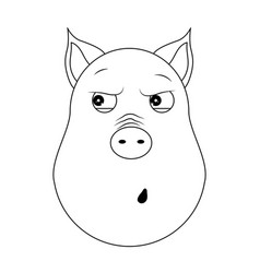 head of paranoid pig in outline style kawaii vector image