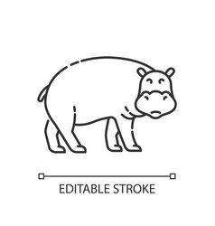 Hippo pixel perfect linear icon vector