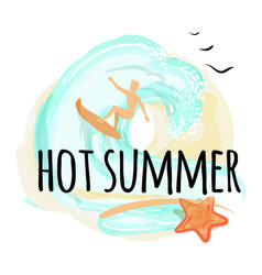 hot summer happy placard vector image